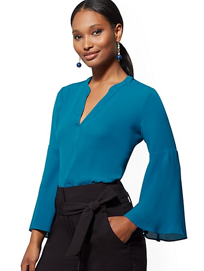 V-Neck Bell-Sleeve Blouse - 7th Avenue - New York & Company