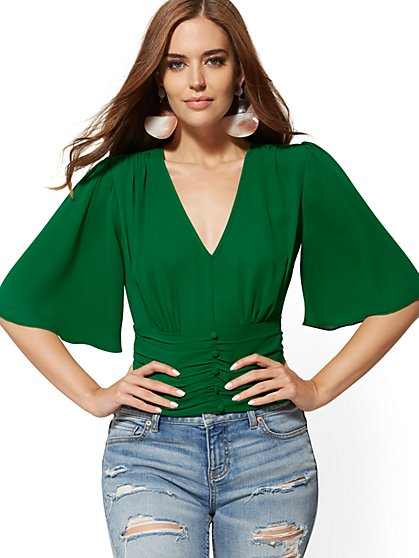 V-Neck Bell-Sleeve Blouse - New York & Company