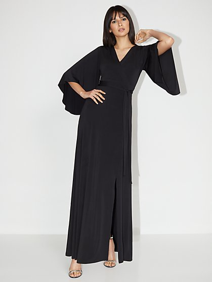 V-Neck Bell-Sleeve Kimono Maxi Dress - NY&C Style System - New York & Company