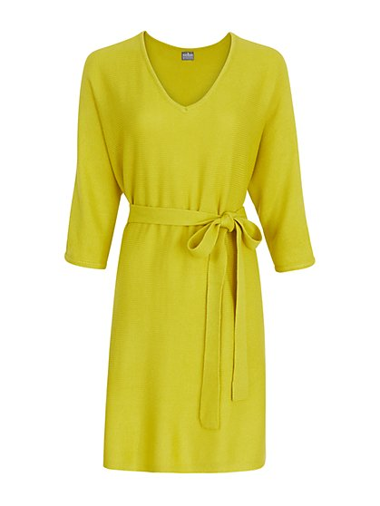 V-Neck Belted Sweater Dress - New York & Company