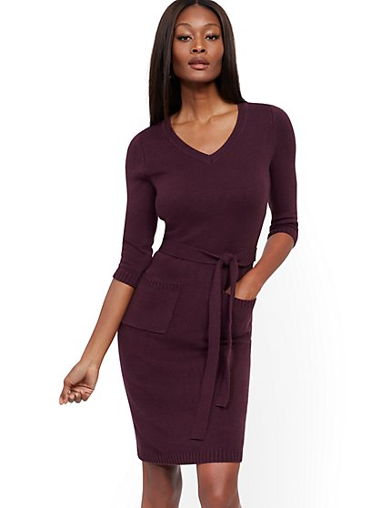 V-Neck Belted Sweater Sheath Dress - New York & Company