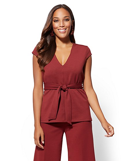 V-Neck Belted Top - 7th Avenue - New York & Company