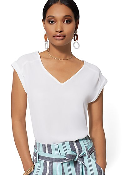 V-Neck Blouse - 7th Avenue - New York & Company