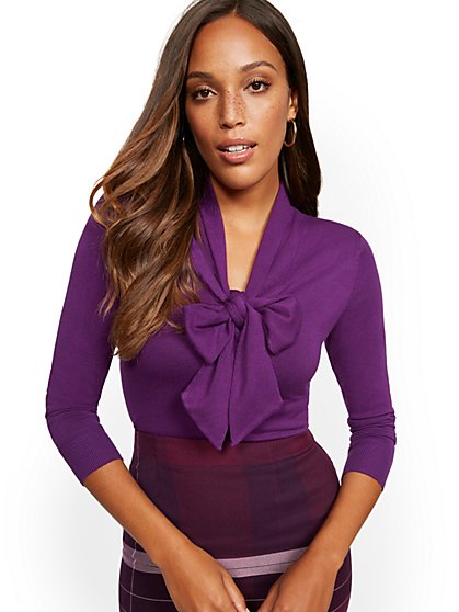 V-Neck Bow-Accent Sweater - 7th Avenue - New York & Company