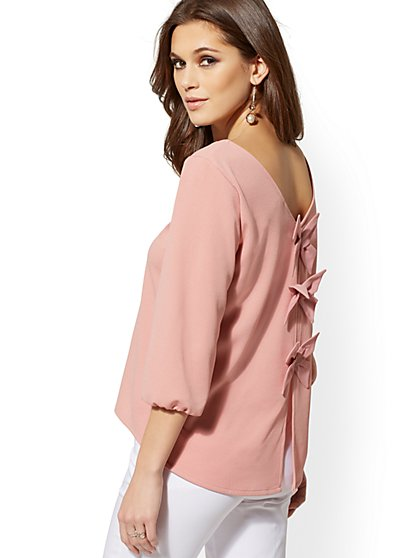 V-Neck Bow-Back Top - 7th Avenue - New York & Company
