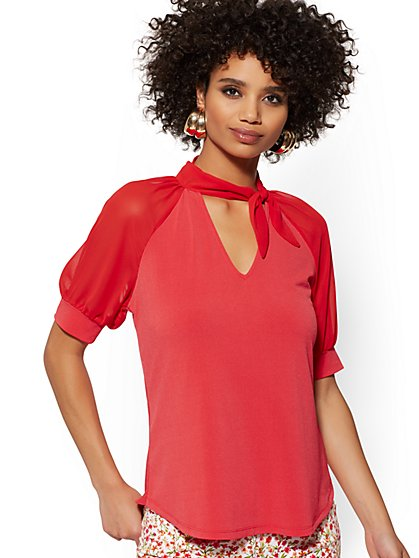 V-Neck Bow Top - 7th Avenue - New York & Company