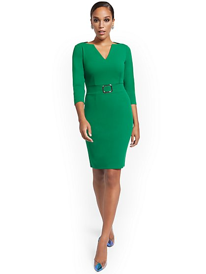 V-Neck Buckled-Detail Sheath Dress - Magic Crepe® - New York & Company