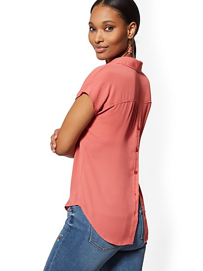 V-Neck Button-Back Blouse - Soho Soft Shirt - New York & Company