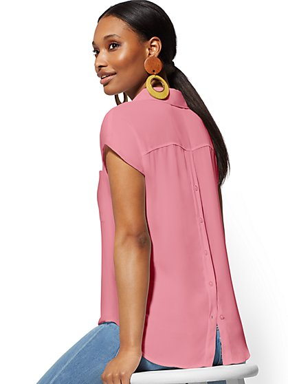 V-Neck Button-Back Blouse - New York & Company