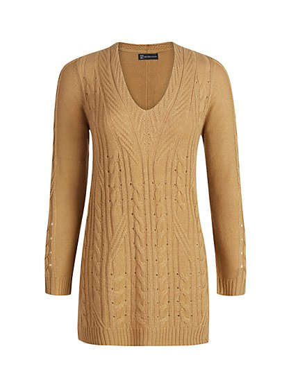 V-Neck Cable-Knit Tunic Sweater - New York & Company