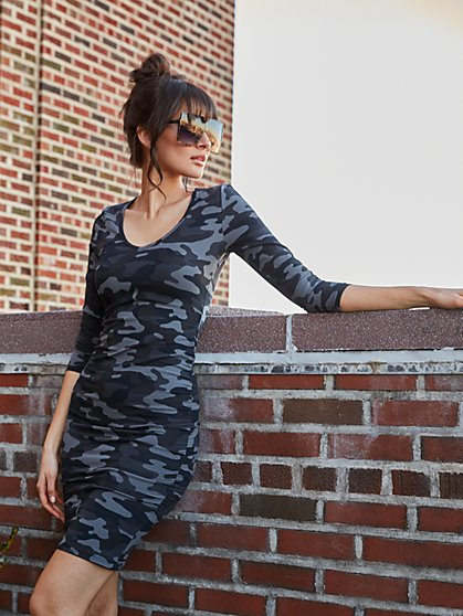 V-Neck Camo-Print Midi Dress - Everyday Collection - New York & Company