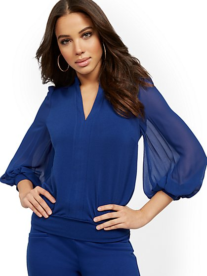 V-Neck Chiffon-Sleeve Top - 7th Avenue - New York & Company