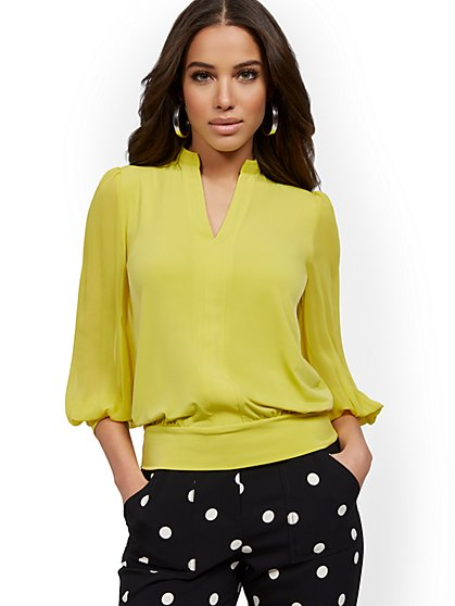 V-Neck Chiffon-Sleeve Top - New York & Company