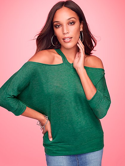 V-Neck Cold-Shoulder Top - Sweet Pea - New York & Company