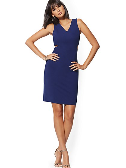 V-Neck Cutout Bodycon Sheath Dress - Magic Crepe® - New York & Company