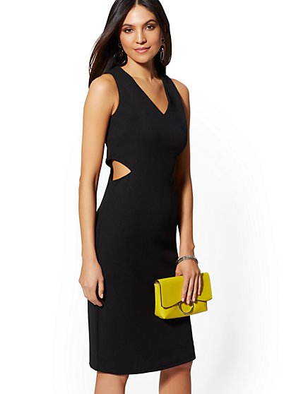 V-Neck Cutout Bodycon Sheath Dress - Magic Crepe - New York & Company