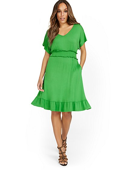 V-Neck Dolman-Sleeve Frill Dress - New York & Company