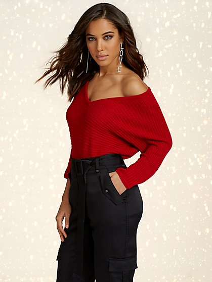 V-Neck Dolman Tunic Sweater - New York & Company