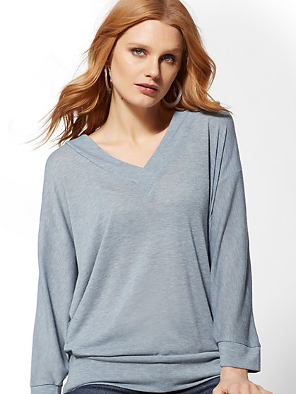 V-Neck Hacci-Knit Tunic Top - New York & Company