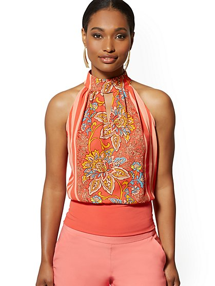 V-Neck Halter Top - 7th Avenue - New York & Company