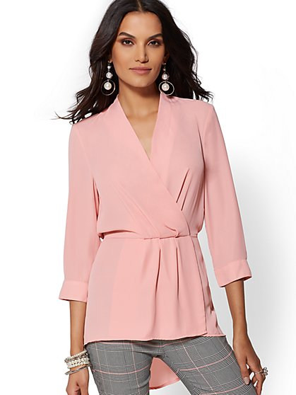V-Neck Hi-Lo Wrap Blouse - New York & Company