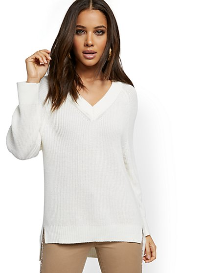 V-Neck High-Low Sweater - New York & Company