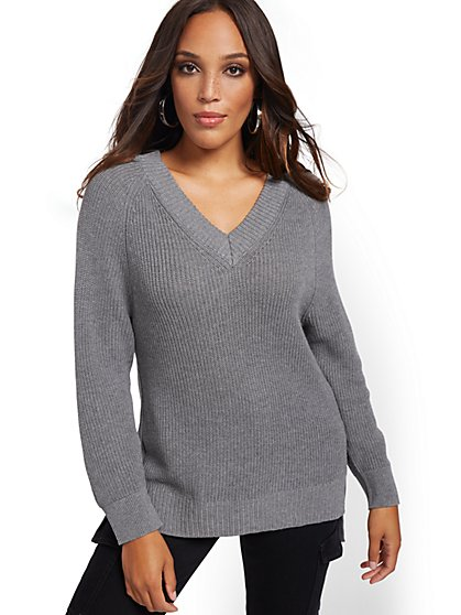 V-Neck High-Low Tunic Sweater - New York & Company