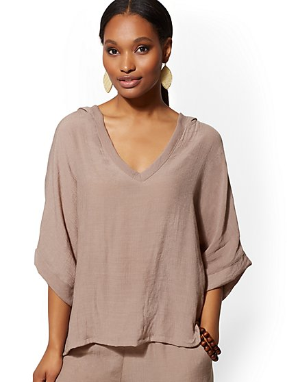 V-Neck Hooded Dolman Top - Soho Street - New York & Company
