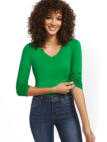 V-Neck Long-Sleeve Perfect Tee - New York & Company