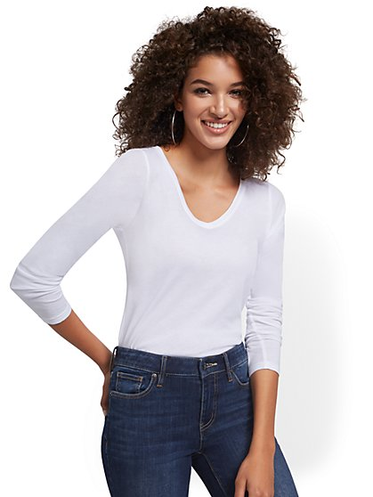 V-Neck Long-Sleeved Perfect Tee - New York & Company