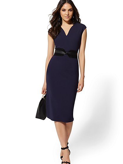 V-Neck Midi Sheath Dress - Magic Crepe - New York & Company
