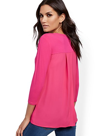 V-Neck Mix-Media Tunic Top - New York & Company
