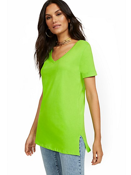 V-Neck Perfect Tunic Tee - New York & Company
