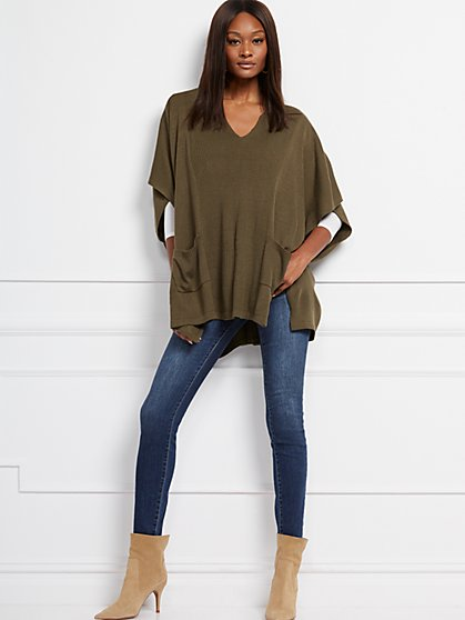 V-Neck Poncho - New York & Company