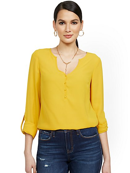 V-Neck Rolled Tab-Sleeve Blouse - New York & Company