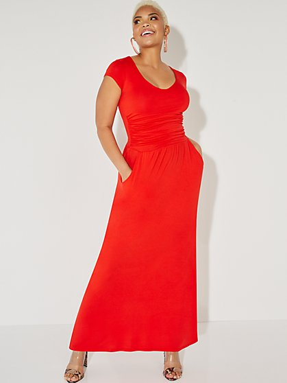 V-Neck Ruched Maxi Dress - NY&C Style System - New York & Company