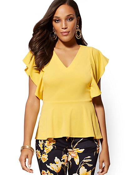 V-Neck Ruffled Peplum Top - 7th Avenue - New York & Company