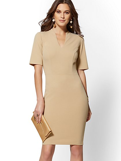 V-Neck Scuba Crepe Sheath Dress - Magic Crepe - 7th Avenue - New York & Company