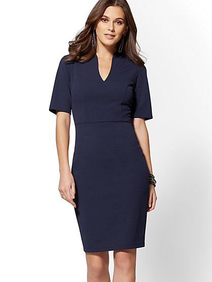 V-Neck Scuba Crepe Sheath Dress - New York & Company
