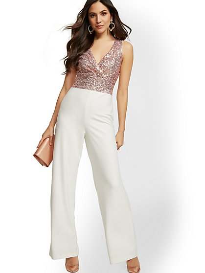 V-Neck Sequin Jumpsuit - New York & Company