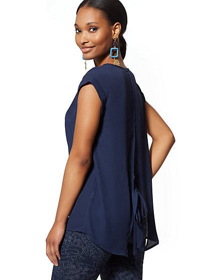 V-Neck Split-Back Blouse - 7th Avenue - New York & Company