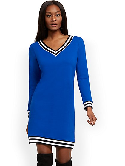 V-Neck Sweatshirt Dress - Soho Street - New York & Company