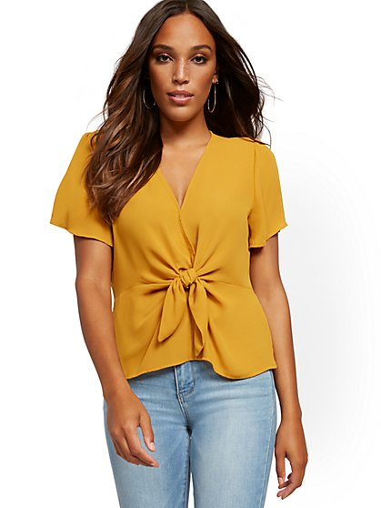V-Neck Tie-Front Blouse - New York & Company