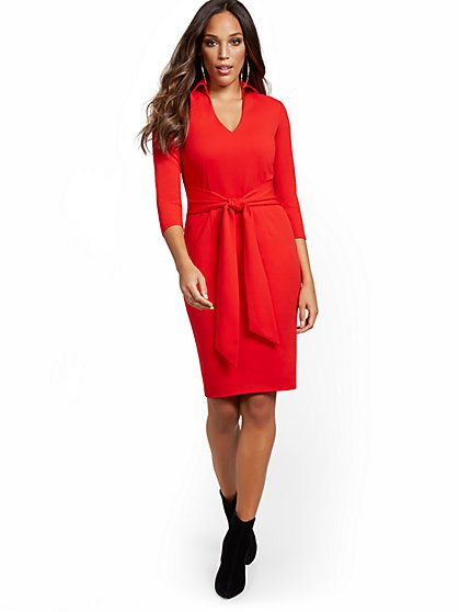 V-Neck Tie-Front Sheath Dress - Magic Crepe® - New York & Company
