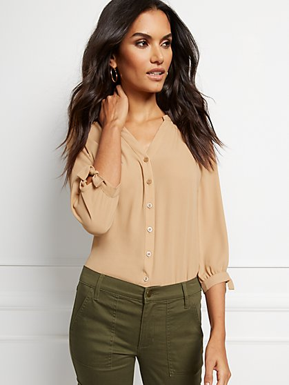 V-Neck Tie-Sleeve Blouse - New York & Company