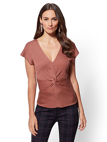 V-Neck Twist-Front Sweater - 7th Avenue - New York & Company
