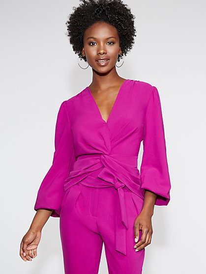 V-Neck Twist-Front Top - Gabrielle Union Collection - New York & Company