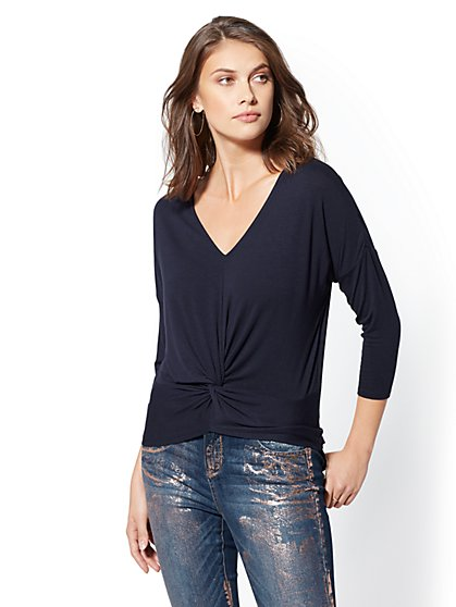 V-Neck Twist Front Top - Soho Soft Tee - New York & Company