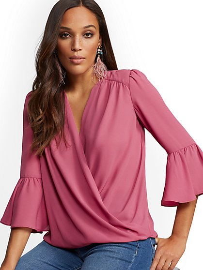 V-Neck Wrap Blouse - New York & Company