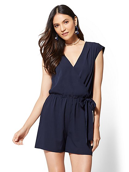 V-Neck Wrap Romper - New York & Company